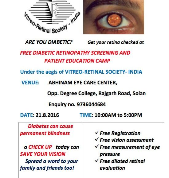 Free Diabetic Retinopathy Screening and patient Education Camp